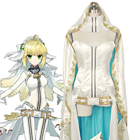 Fate Grand Order Fate Extra CC Saber Nero Claudius Bride Cosplay Costume