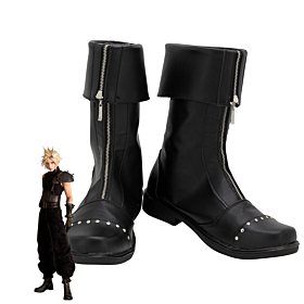 Final Fantasy VII FF7 Remake Cloud Strife Black Shoes Cosplay Boots