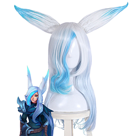 League Of Legends Xayah The Rebel SSG Skin White Blue Cosplay Wig
