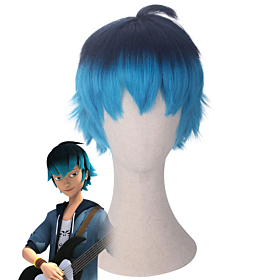 Miraculous Ladybug Luka Black Blue Cosplay Wig
