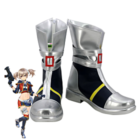 Sword Art Online : Fatal Bullet Ayano Keiko Silica Silver Black Shoes Cosplay Boots